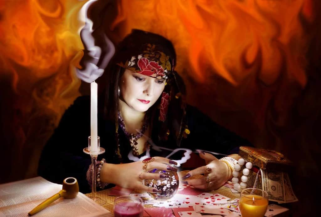 Woman fortune-teller reading the future